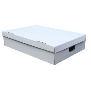 Úložná krabica s vekom 370 x 250 x 120 mm, BIELA
