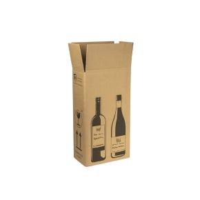 Zásielková krabica na 2 fľaše vína 204x108x368 mm, hnedá
