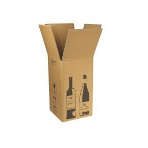Zásielková krabica na 4 fľaše vína 212x204x368 mm, hnedá